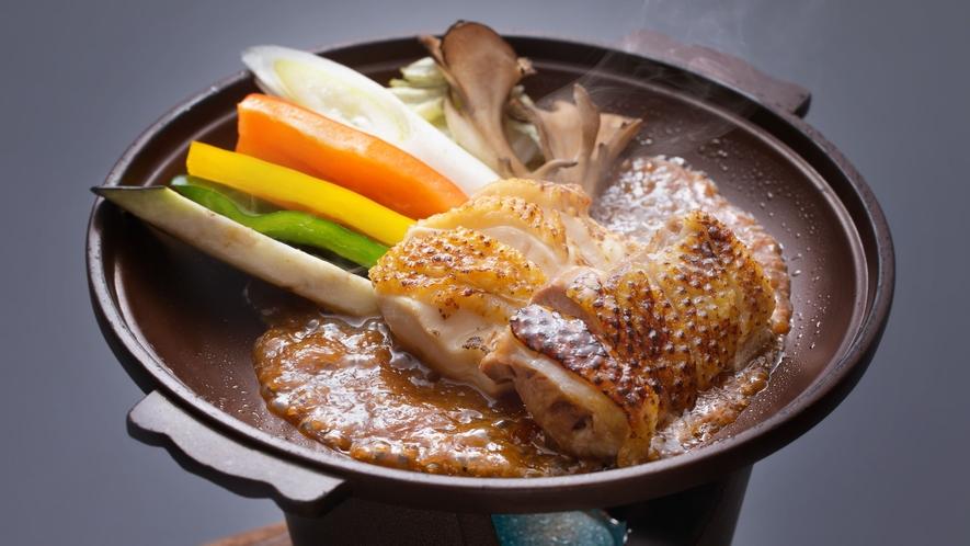 【追加料理】「比内地鶏と旬野菜の特製味噌だれ焼き」