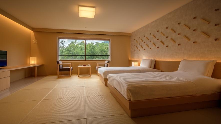 【リニューアル和室ツインルーム】木のぬくもりが心地よい内装となりリラックスできるお部屋に。