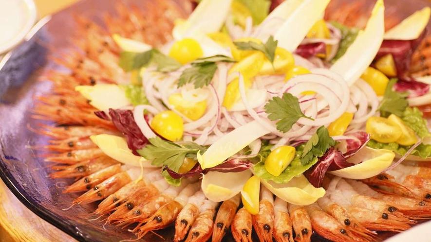 【夕食バイキング一例】甘海老のカルパッチョ