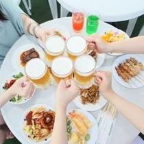 夏はやっぱりビアガーデン☆鉄板焼きはビールにピッタリ(^o^)/