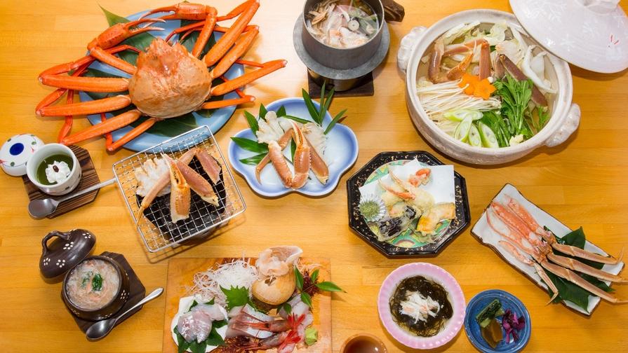 【夕食はカニづくし】旬の紅ズワイガニ堪能★焼きガニ・蟹しゃぶ・カニの天ぷらなど計10品