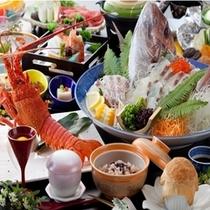 鯛の姿造りと伊勢海老と赤飯が付いてお得なプラン