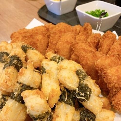 朝食バイキング「山芋の短冊揚げ&えびかつ」