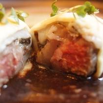 夕食 信州黒毛和牛 フレンチのコース料理の一例