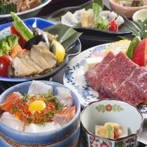 讃井牛、あわび、海鮮丼
