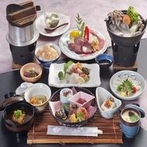 神戸牛鉄板焼きや県魚を使用した郷土料理の浜ちゃん鍋が付いた懐石料理