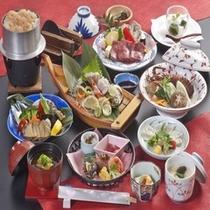 讃井牛やあわび料理が付いた懐石コース