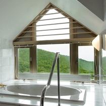 マウンテンスイート浴室からの眺め