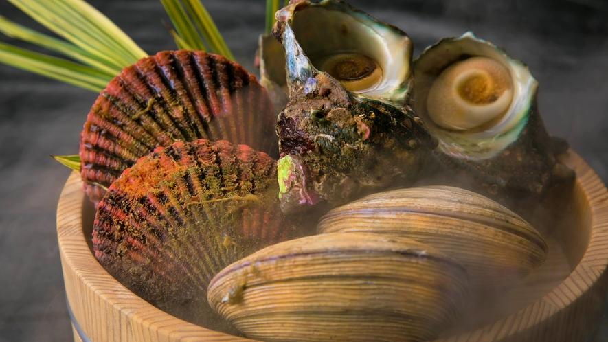 【貝3種の陶板焼き】