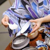 【目の前で炊き上げるコシヒカリ(ご夕食)】