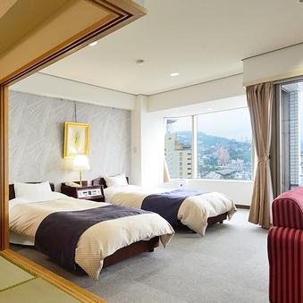 ゆったり広々和洋室(ツイン+6畳)(3〜8階)
