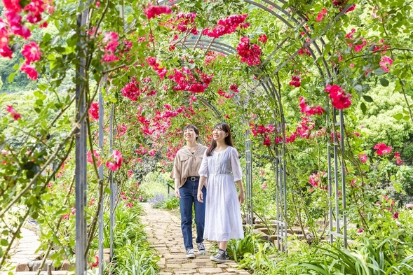 女子旅・デートに人気♪バラと花々の楽園★熱海アカオローズガーデンチケット付き!季節の和会席を堪能