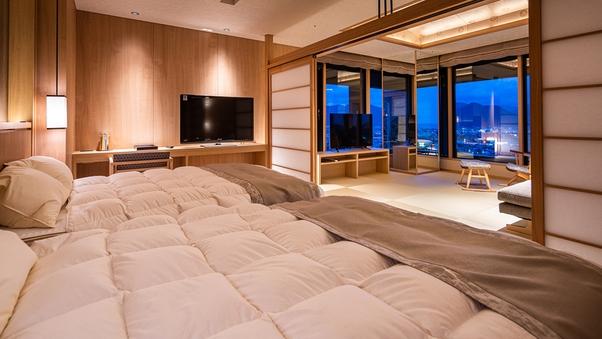 【特別室】最上階8階 展望風呂付和洋室コーナースイート