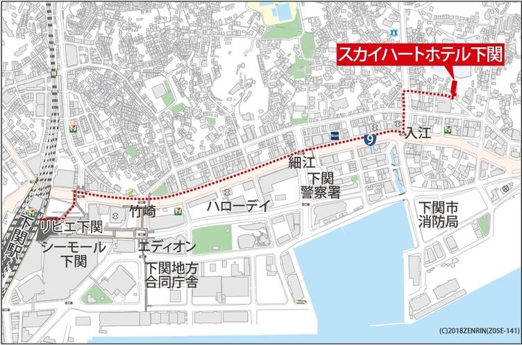 JR下関駅からスカイハートホテル下関までのアクセス