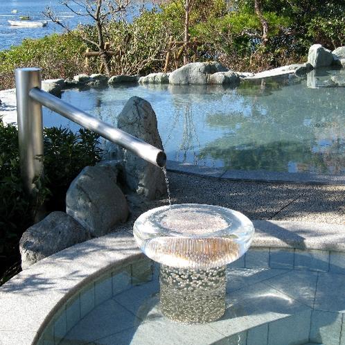 ■庭園露天風呂の真珠のお湯受け