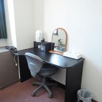 *客室一例:シンプルなデスク。お仕事や身支度にお使い下さい
