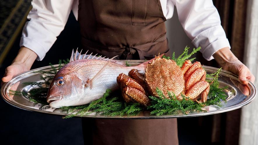 <食材・富山湾の恵み>天然鯛と毛蟹