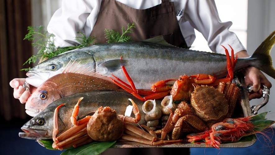 <食材・富山湾の恵み>ぶり・鯛・蟹・バイ貝