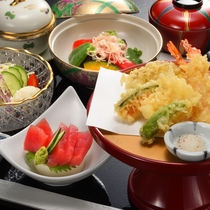 【夕食】和食 天ぷらと鮪刺膳