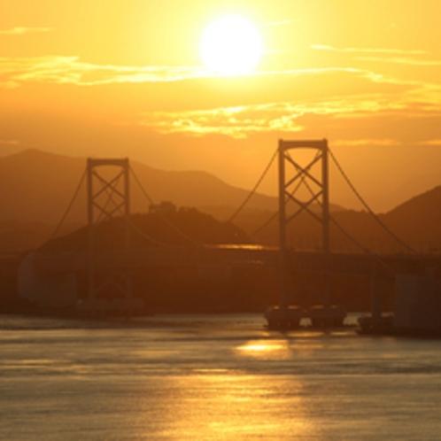 露天風呂からの夕日&鳴門海峡