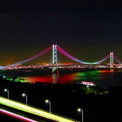明石海峡大橋ライトアップ