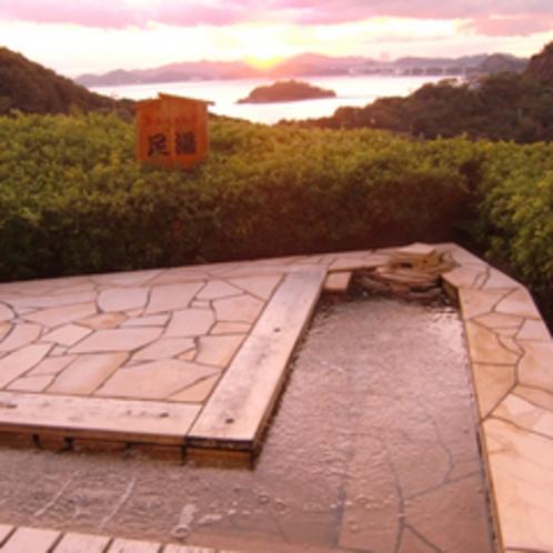 足湯からの夕日