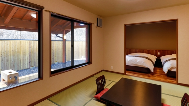 【新築】檜の露天風呂付離れ和洋室(和洋2間)