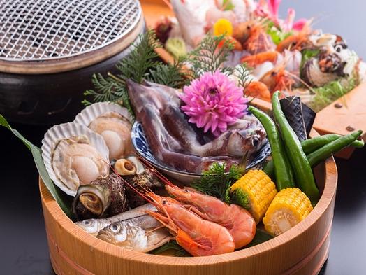 *鮮魚舟盛付き♪*デラックス海鮮炭火焼コースでお刺身&焼たて魚介を味わい尽くす♪