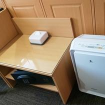 【部屋設備】空気清浄機、セキュリティボックスなど充実の設備