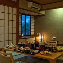 ■お部屋食イメージ テーブルに会席セット夕方懐かし館