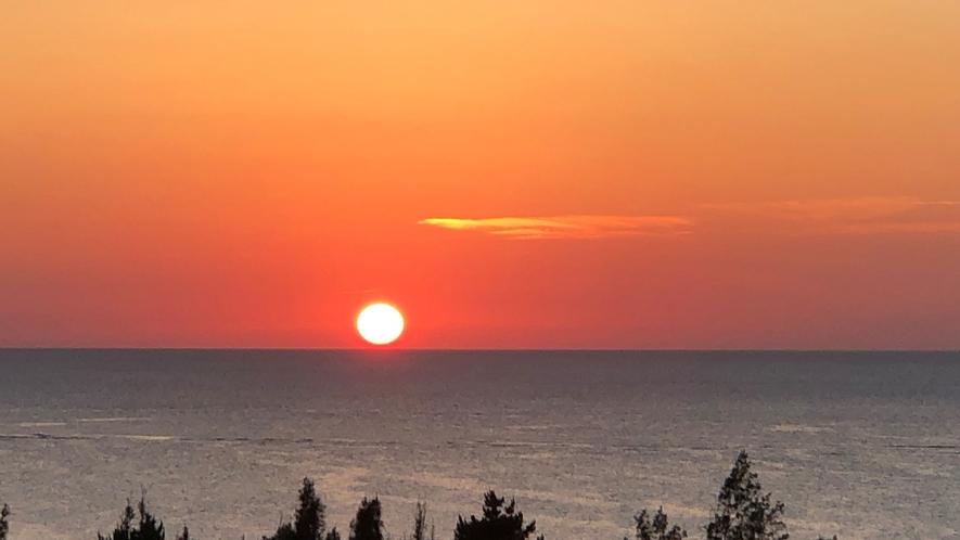 レストランから見える夕日
