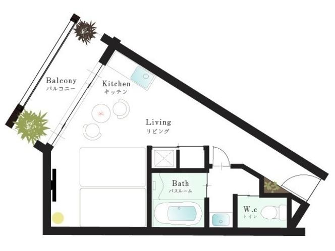 【ツインルーム33㎡】セミダブル2台+キッチンの平面図