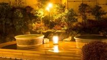 「森の湯」露天風呂。夜は素敵な雰囲気に