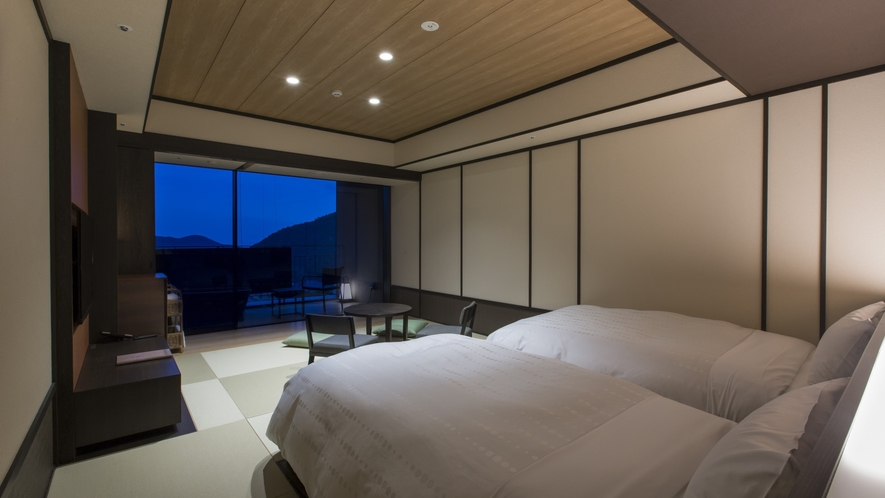 夜の露天風呂付客室