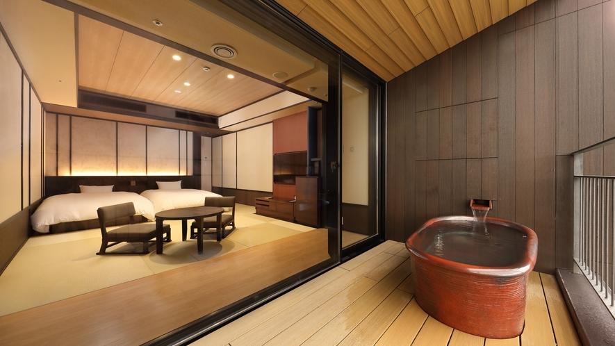【露天風呂付客室】すべての客室に眺望が楽しめる信楽焼の温泉露天風呂をご用意。