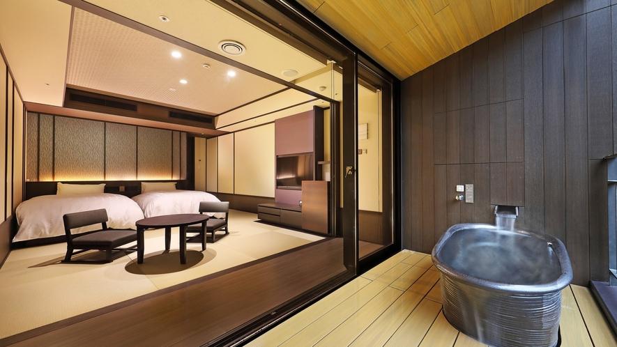 客室露天風呂は、景色をお楽しみ頂くためにあえて開放的な造りとなっております