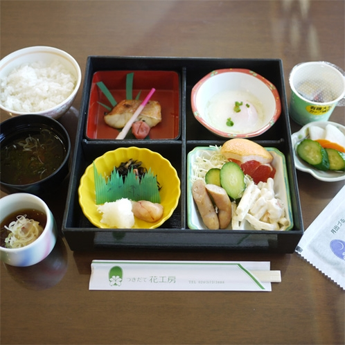 *朝食一例/朝食は和食膳。4~5種類のおかずをご用意しております。