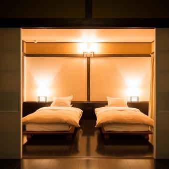 【離れ】山の間|ベッドルーム+リビング(専用檜風呂・温泉)