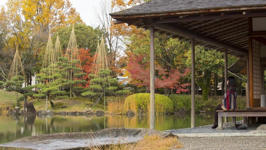 養造館庭園はかつての藩主と同じように座敷からお庭を眺めることができる名勝庭園です。車で約35分