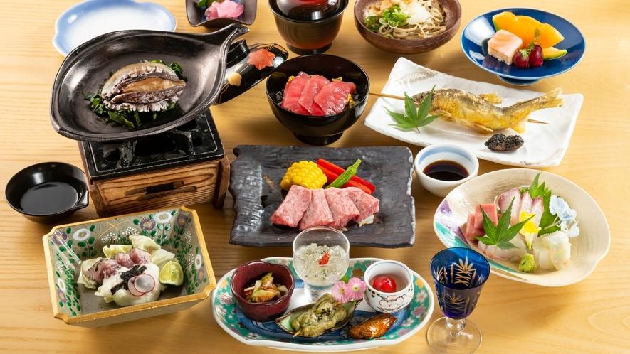 牛ステーキに新鮮な魚も楽しめる、料理長お勧めの特選会席!