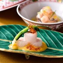 冬の京会席一例:蟹の蒸し物・蟹の酢の物