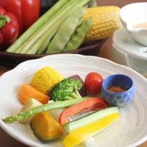 """15種類の季節野菜を""""バーニャカウダソース""""でお召し上がりください"""