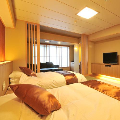 ★リニューアル★スタンダード和洋室12畳相当 シモンズのセミダブルベッドで心地よく御就寝くださいませ