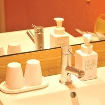 和洋室の洗面台。ハンドソープ、クレンジングフォームも常備しております。