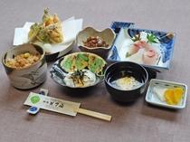 【ビジネス夕食】名物元祖大山おこわ・お刺身・天ぷらなど※一例