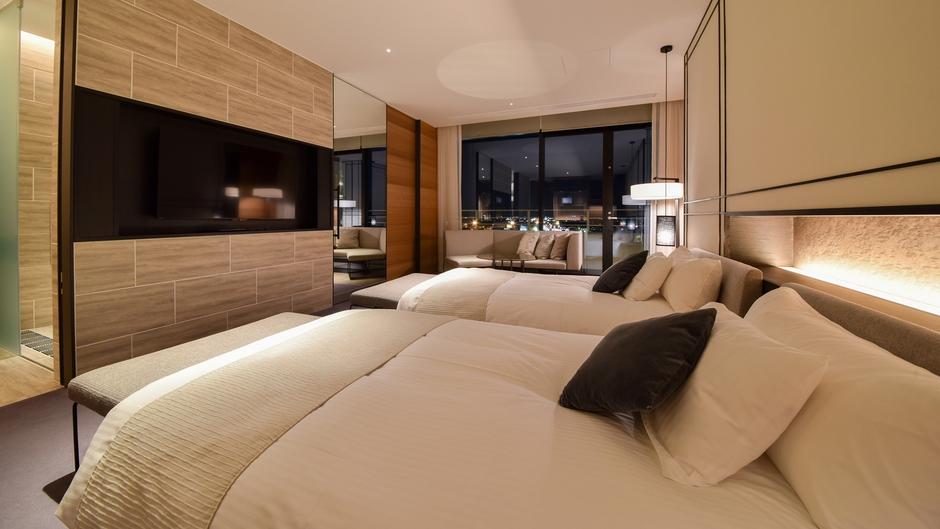 *【ツインルーム】スランバーランド社製のベッドは寝心地抜群。快適なくつろぎをあなたに。
