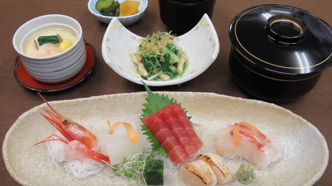 『夕食は和食堂のご膳deゆったり♪プラン』【夕朝食付】天ぷら・お刺身・すき焼き夕食3種ご膳を選べる!