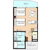 *[客室一例/1K-A]お部屋の平面図