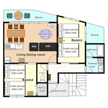 *[客室一例/2LDK]お部屋の平面図