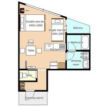 *[客室一例/1K-B]お部屋の平面図